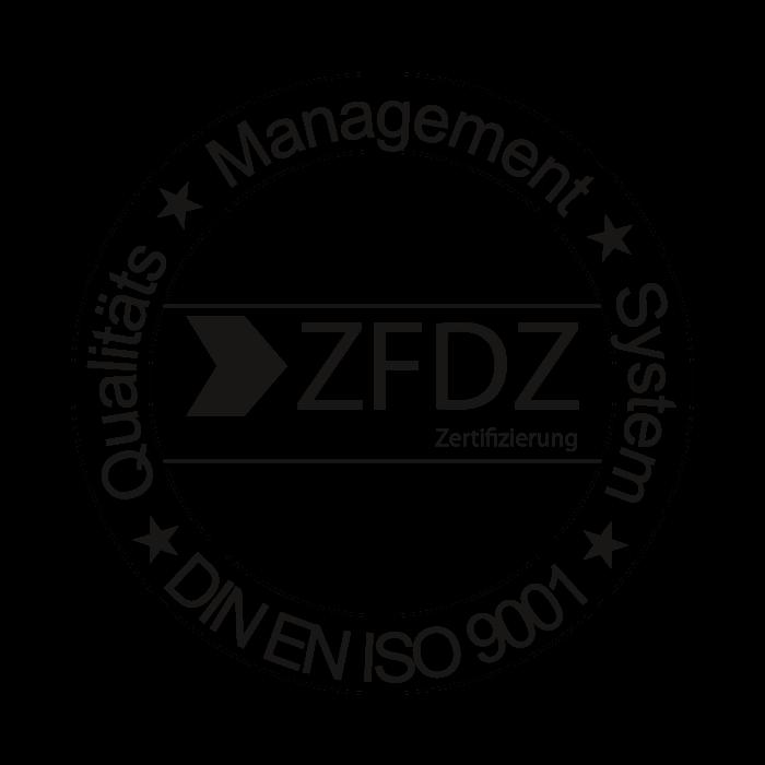 Ein schwarzer Stempel als Symbol für die ZFDZ Zertifizierung.