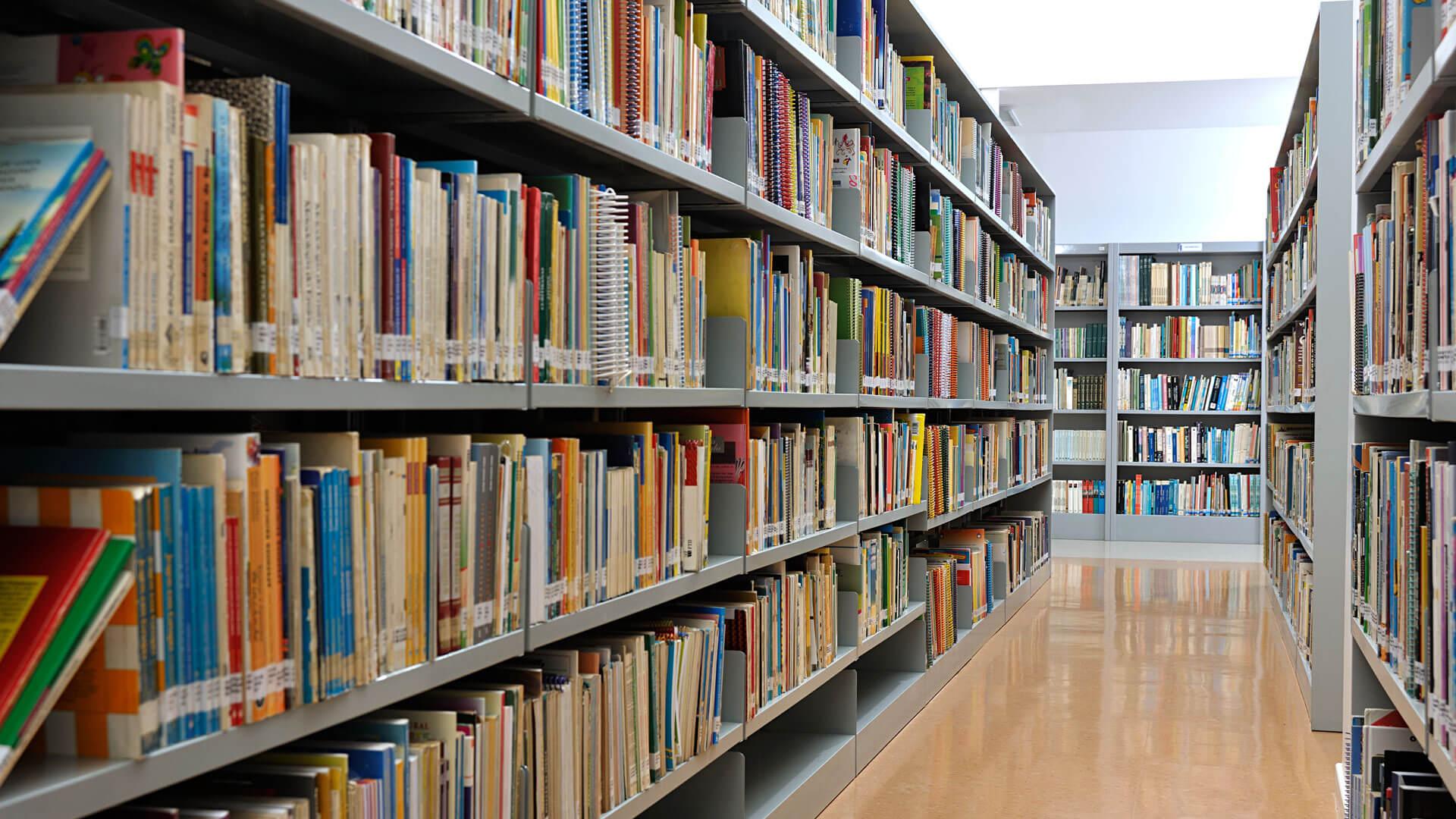 Ein Bild von einem Gang zwischen zwei gefüllten Bücherregalen. Am Ende des Ganges ist ein weiteres Bücherregal zu erkennen.