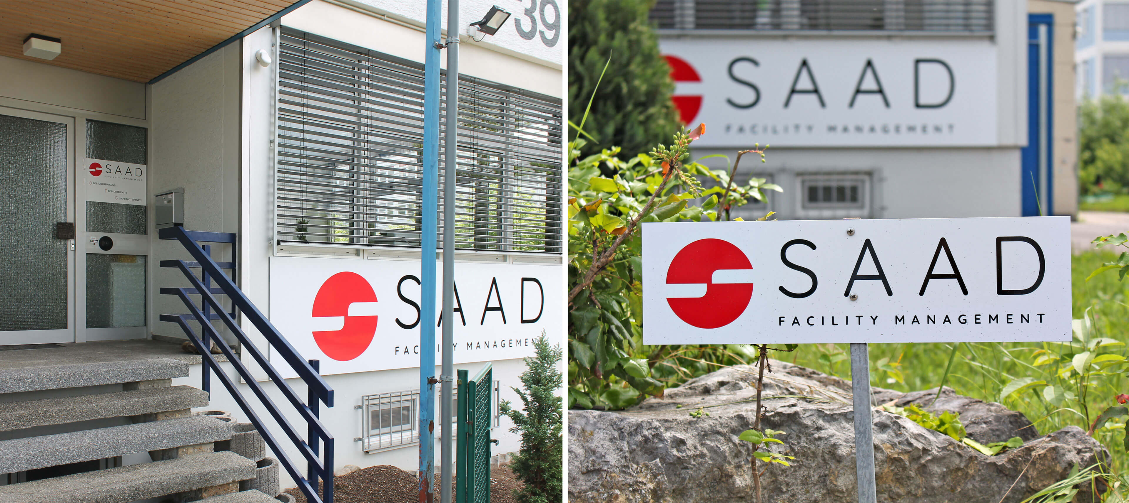 Zusammenschnitt aus zwei Bildern des Eingangsbereichs des Firmengebäudes. Im linken Bild sind das große Logo an der vorderen Wand des Gebäudes und die Eingangstür zu sehen. Im rechten Bild sieht man das Schild eines Parkplatzes und ebenfalls das große Logo an der vorderen Wand des Gebäudes.