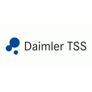 """Ein Daimler TSS Logo. Links neben dem grauen Schriftzug """"Daimler TSS"""" sind drei blaue Kreise in unterschiedlichen Größen zu erkennen."""