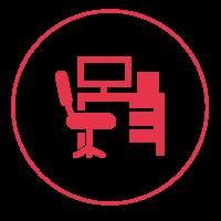 Ein rotes Icon mit einem schmalen Außenkreis, in dem ein Bürostuhl und ein Schreibtisch abgebildet sind.