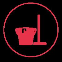 Ein rotes Icon mit einem schmalen Außenkreis, in dem ein Eimer abgebildet ist, neben dem ein Besen steht.