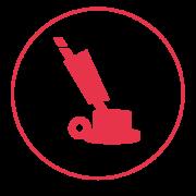Ein rotes Icon mit einem schmalen Außenkreis, in dem eine Eischeibenmaschine abgebildet ist.