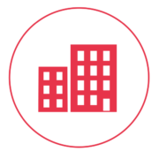 Ein rotes Icon mit einem schmalen Außenkreis, in dem zwei Industriegebäude abgebildet sind.