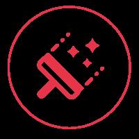 Ein rotes Icon mit einem schmalen Außenkreis, in dem Fensterabzieher mit drei Glanzsternen abgebildet ist.