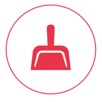 Ein rotes Icon mit einem schmalen Außenkreis, in dem eine roten Schaufel abgebildet ist.