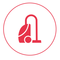 Ein rotes Icon mit einem schmalen Außenkreis, in dem ein Staubsauger abgebildet ist.