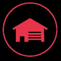 Ein rotes Icon mit einem schmalen Außenkreis, in dem ein Haus mit Jalousien abgebildet ist.