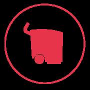 Ein rotes Icon mit einem schmalen Außenkreis, in dem eine professionelle Scheuersaugmaschine abgebildet ist.