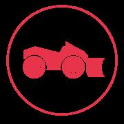 Ein rotes Icon mit einem schmalen Außenkreis, in dem ein Räumfahrzeug mit einer Schneeschaufel am vorderen Teil abgebildet ist.