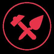 Ein rotes Icon mit einem schmalen Außenkreis, in dem sich ein Hammer und ein Spachtel überkreuzen.