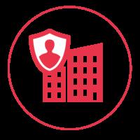 Ein rotes Icon mit einem schmalen Außenkreis, in dem ein Industriegebäude abgebildet ist. Vor dem Gebäude ist ein Schutzschild abgebildet mit einem Männchen darin.