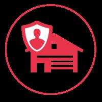 Ein rotes Icon mit einem schmalen Außenkreis, in dem ein Haus mit einem Rolltor abgebildet ist. Vor dem Haus ist ein Schutzschild mit einem Männchen darin abgebildet.