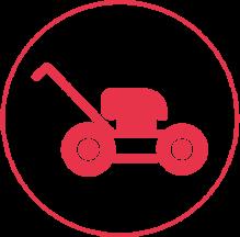 Ein rotes Icon mit einem schmalen Außenkreis, in dem ein Rasenmäher abgebildet ist.