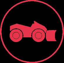 Ein rotes Icon mit einem schmalen Außenkreis, in dem ein Räumfahrzeug abgebildet ist.
