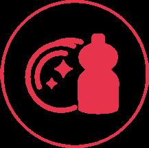 Ein rotes Icon mit einem schmalen Außenkreis, in dem zwei Teller mit Glanzsternen und eine Flasche Spülmittel abgebildet sind.