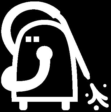 Ein weißes Icon von einem Druckreiniger mit Wasserspritzer.